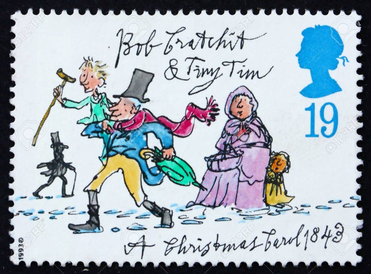 GREAT BRITAIN - CIRCA 1993: a stamp printed in the Great Britain shows Tiny Tim and Bob Cratchit, Christmas carol by Charles Dickens, circa 1993 Stock Photo - 11455623