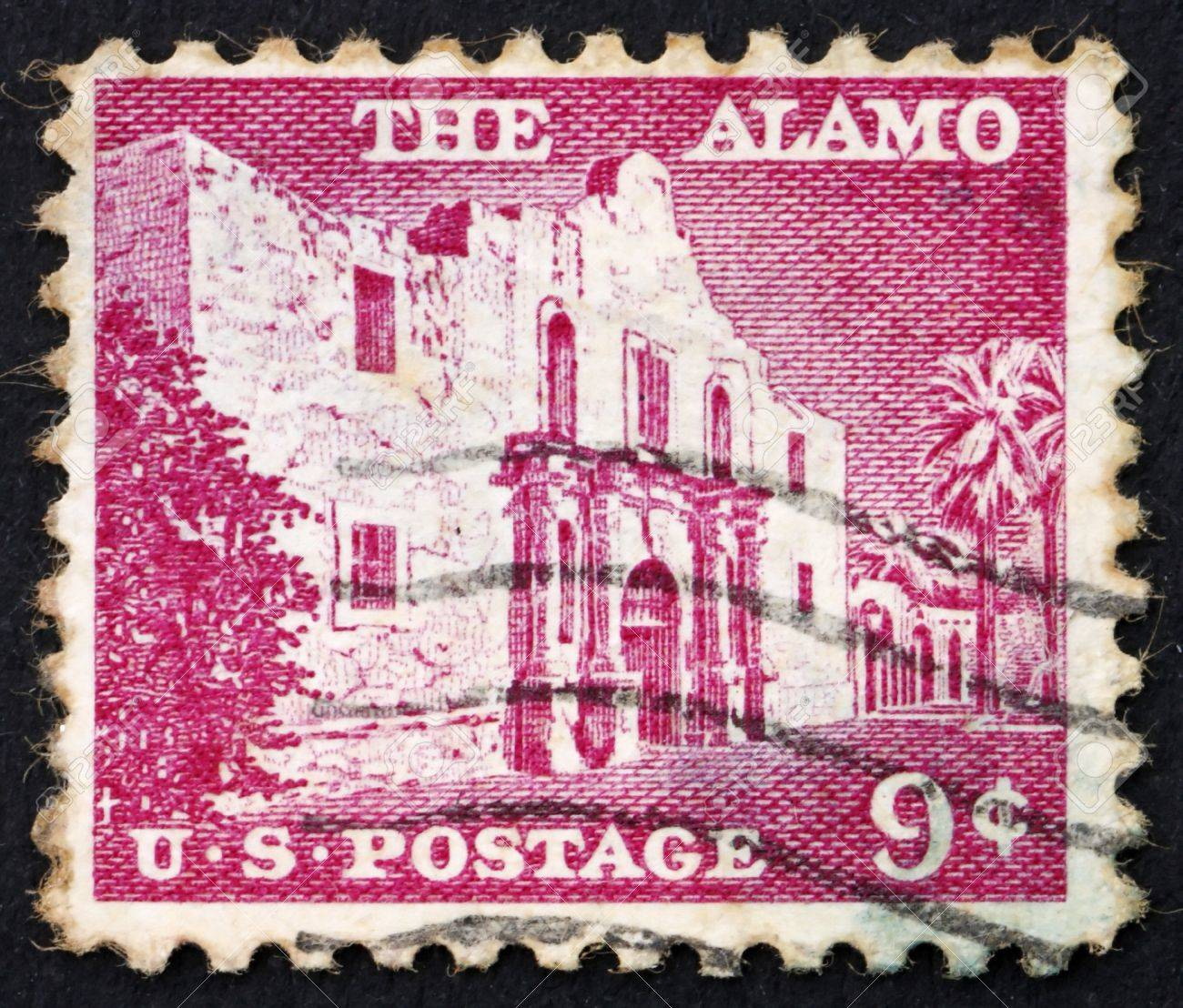 UNITED STATES OF AMERICA - CIRCA 1954: a stamp printed in the United States of America shows The Alamo mission, the place of pivotal event in the Texas Revolution 1836, circa 1954 Stock Photo - 11731836