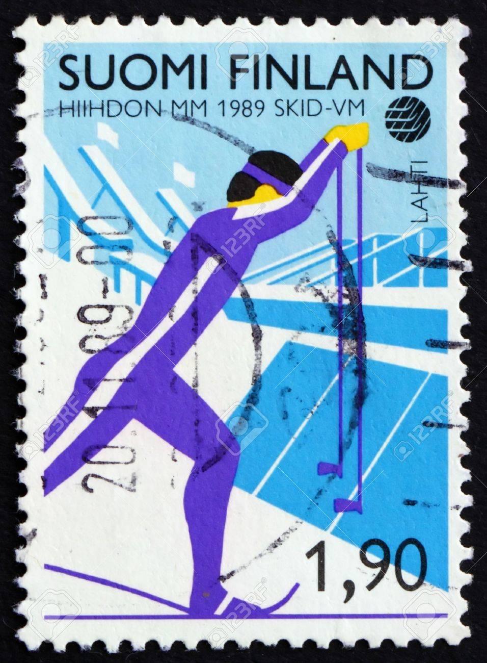 FINLAND - CIRCA 1989: a stamp printed in the Finland shows Cross County Skiing, Nordic Ski Championships, Lahti, circa 1989 Stock Photo - 11960402