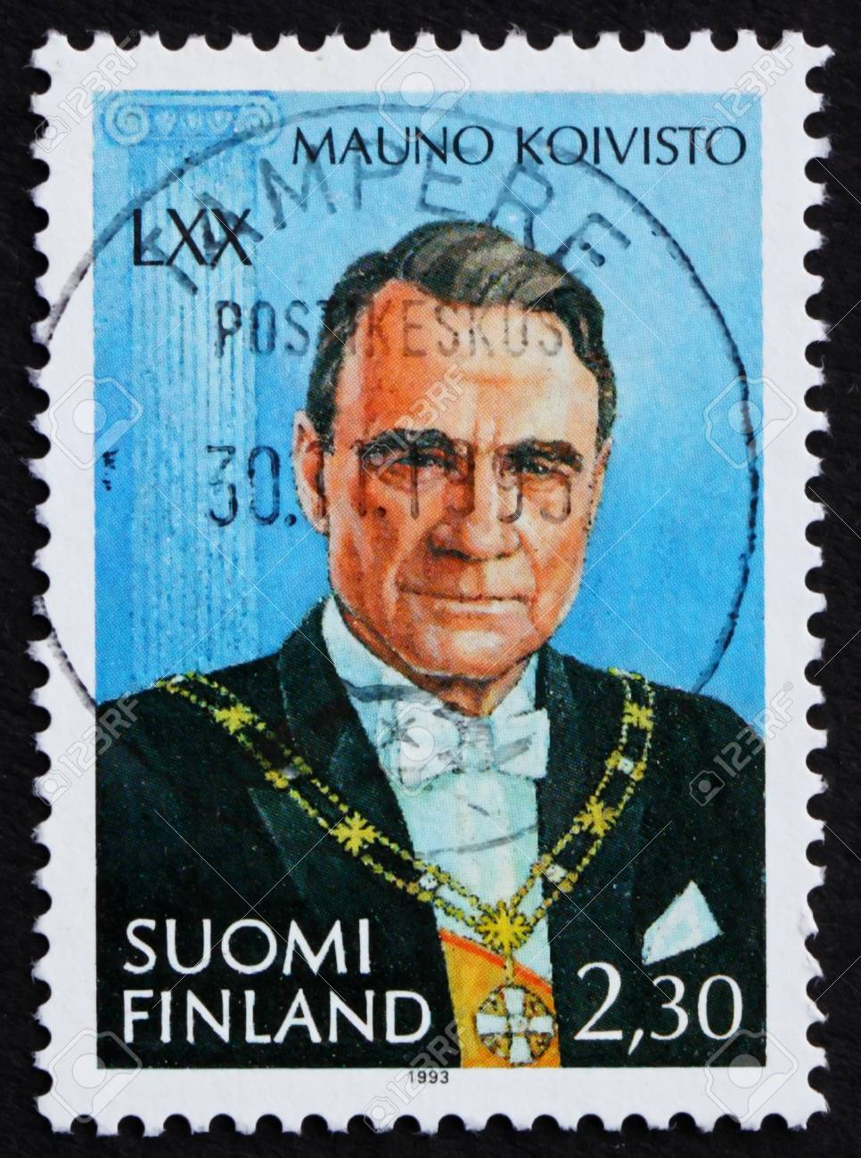 FINLAND - CIRCA 1993: a stamp printed in the Finland shows Mauno Koivisto, 9th President of the Republic of Finland, 1982-1994, circa 1993 Stock Photo - 11960406