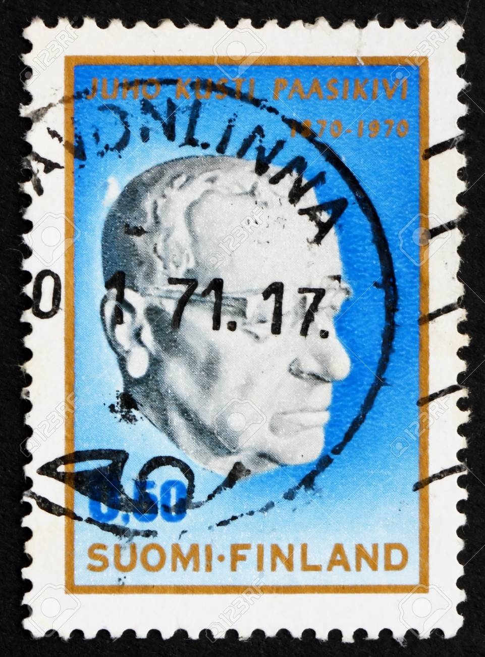 FINLAND - CIRCA 1970: a stamp printed in the Finland shows Juho Kusti Paasikivi by Essi Renavall, 7th President of Finland, circa 1970 Stock Photo - 12143570