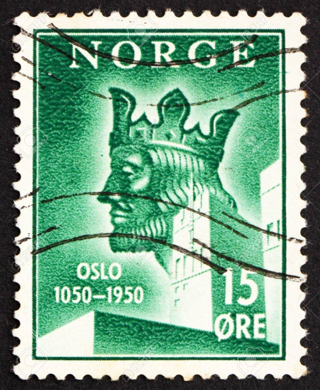 NORWAY - CIRCA 1950: a stamp printed in the Norway shows King Harald Sigurdsson Haardraada, 900th Anniversary of Oslo, circa 1950 Stock Photo - 12179711