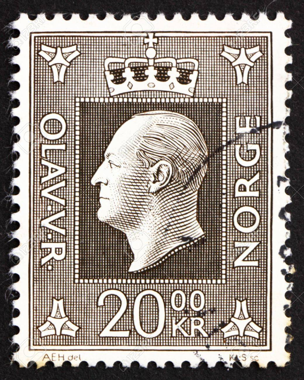 NORWAY - CIRCA 1969: a stamp printed in the Norway shows King Olav V, circa 1969 Stock Photo - 12179592