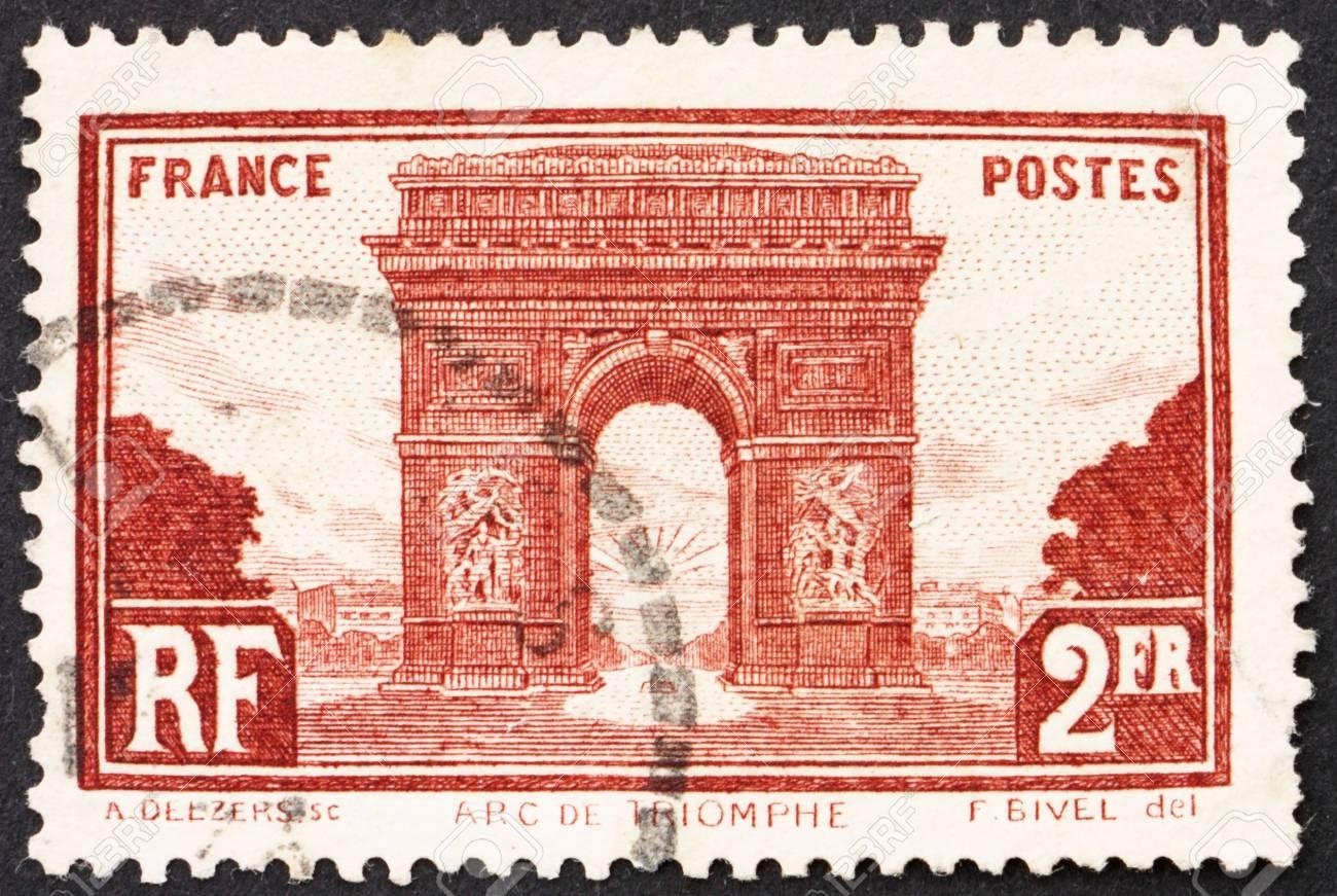 FRANCE - CIRCA 1931: a stamp printed in the France shows Arc de Triomphe, Paris, Triumphal Arch, circa 1931 Stock Photo - 12504117