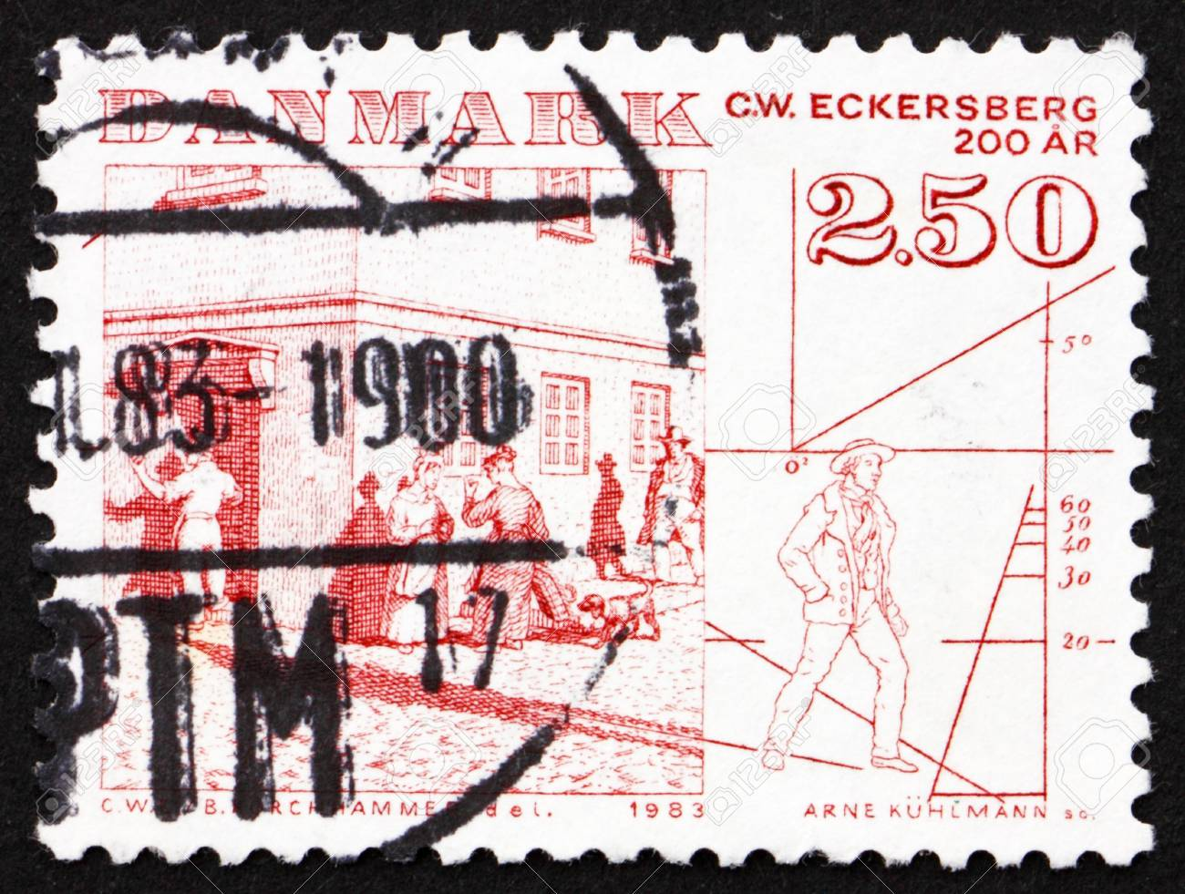 DENMARK - CIRCA 1983: a stamp printed in the Denmark shows Street Scene by C. W. Eckersberg, circa 1983 Stock Photo - 12840006