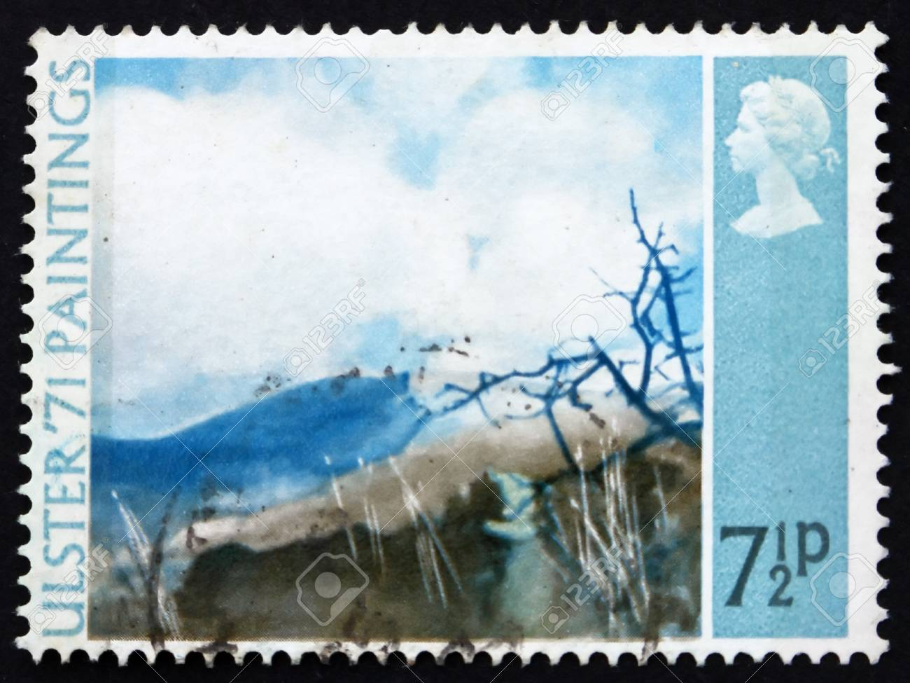 GREAT BRITAIN - CIRCA 1971: a stamp printed in the Great Britain shows Deers Meadow, by Thomas Carr, Painting from Northern Ireland, circa 1971 Stock Photo - 12847853