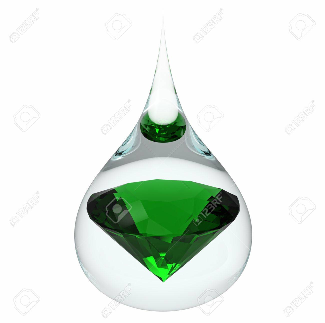 Model of a emerald jewel in a drop of water, isolated on white, 3d render Stock Photo - 12840146