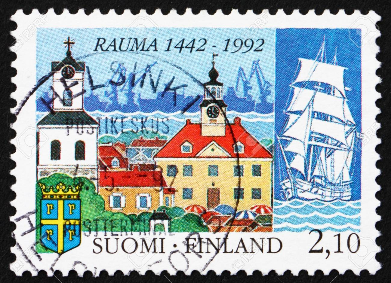 FINLAND - CIRCA 1992: a stamp printed in the Finland shows Town of Rauma, 550th Anniversary, circa 1992 Stock Photo - 12840160