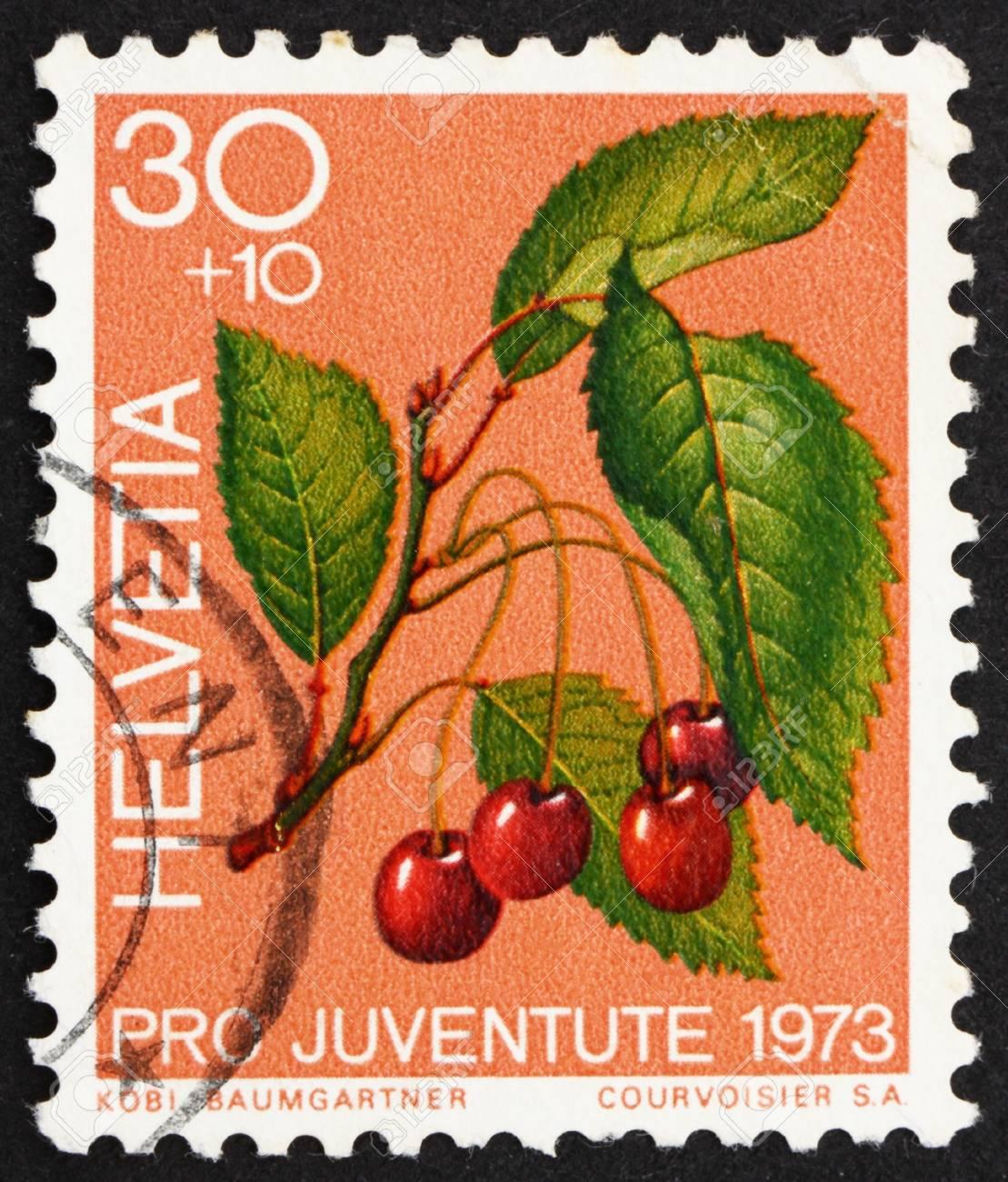 SWITZERLAND - CIRCA 1973: a stamp printed in the Switzerland shows Sweet Cherries, Prunus Avium, Bird Cherry, circa 1973 Stock Photo - 13337220