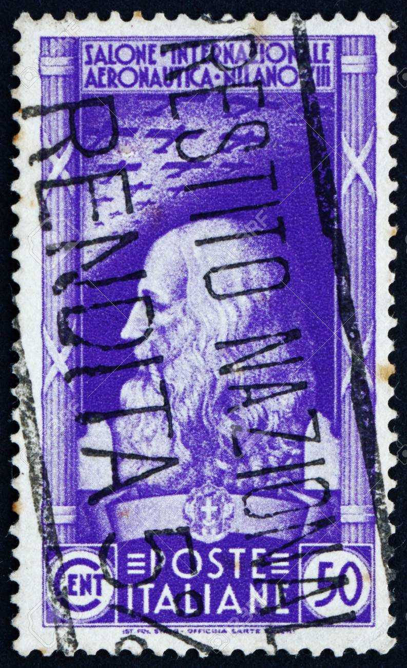ITALY - CIRCA 1935: a stamp printed in the Italy shows Leonardo da Vinci, International Aeronautical Salon, Milan, circa 1935 Stock Photo - 13337832