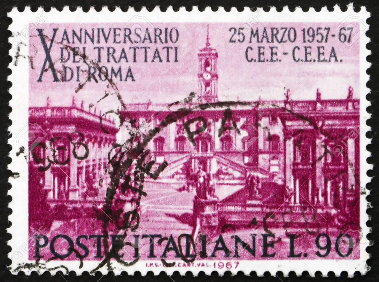 ITALY - CIRCA 1967: a stamp printed in the Italy shows Seat of Parliament on Capitoline Hill, Rome, 10th of the Treaty of Rome, Establishing the European Common Market, circa 1967 Stock Photo - 13626895