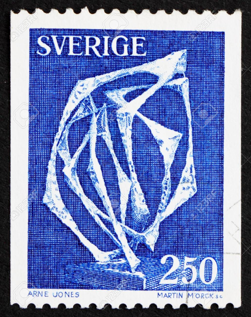 SWEDEN - CIRCA 1978: a stamp printed in the Sweden shows Space without Affiliation, sculpture by Arne Jones, circa 1978 Stock Photo - 13685523
