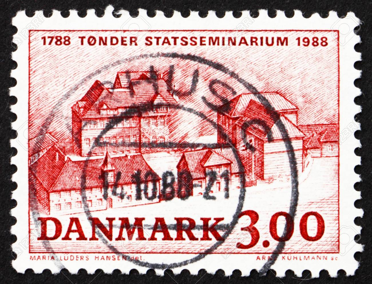 DENMARK - CIRCA 1988: a stamp printed in the Denmark shows Tonder Teachers� Training College, 200th Anniversary, circa 1988 Stock Photo - 13824438