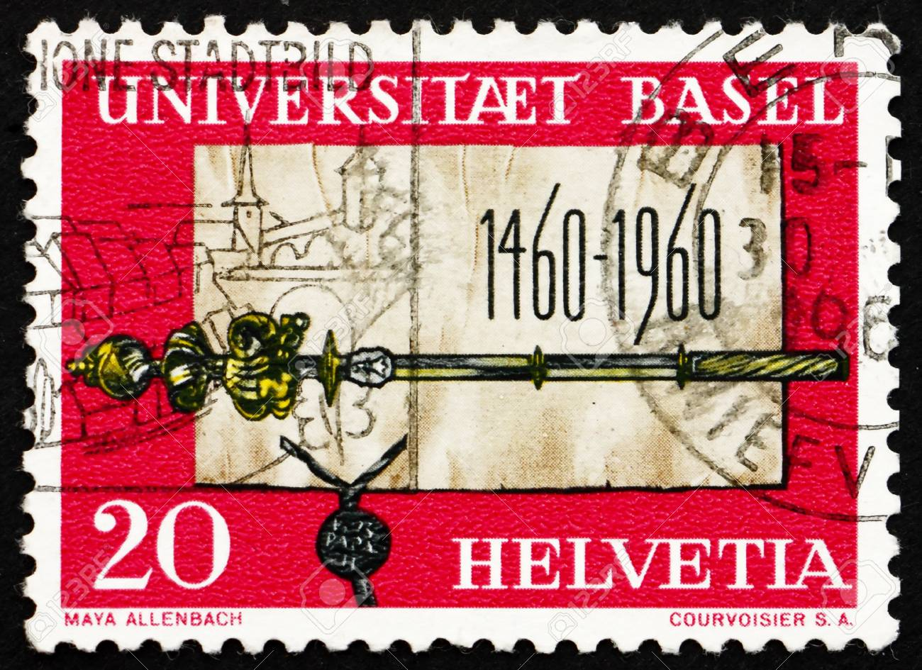 SWITZERLAND - CIRCA 1960: a stamp printed in the Switzerland shows Founding Charter and Scepter of University of Basel, 500th Anniversary, circa 1960 Stock Photo - 13860915