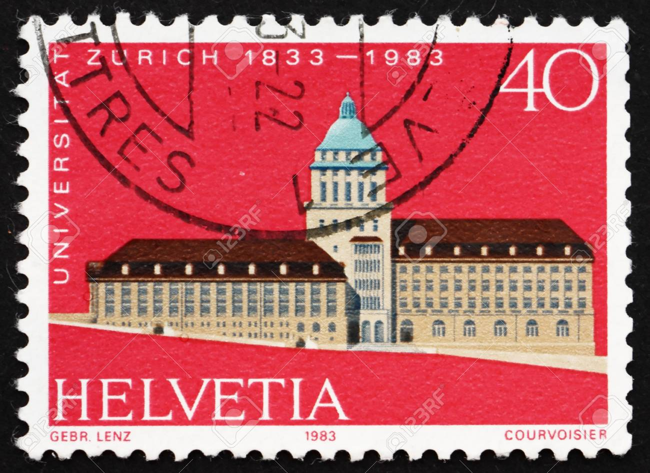 SWITZERLAND - CIRCA 1983: a stamp printed in the Switzerland shows Zurich University, Sesquicentennial, circa 1983 Stock Photo - 14143113