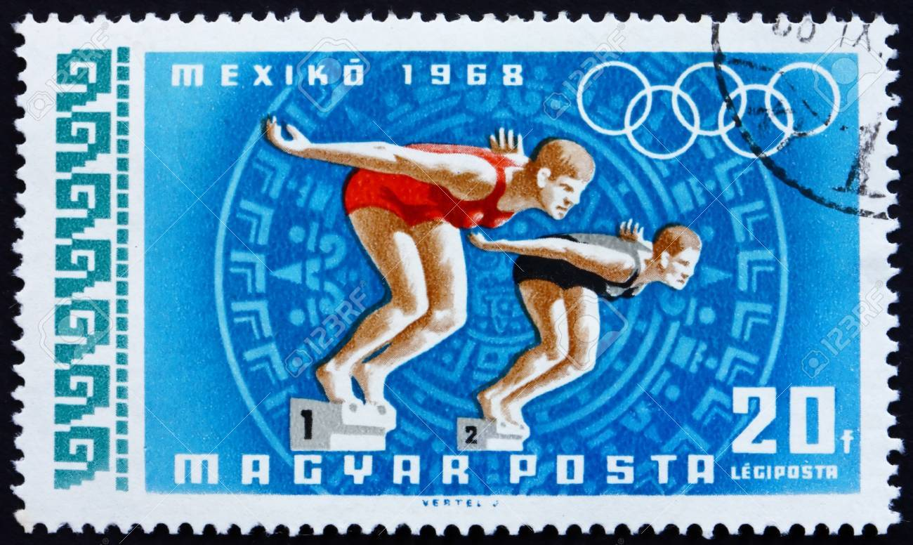 HUNGARY - CIRCA 1968: a stamp printed in the Hungary shows Women Swimmers, Summer Olympic sports, Mexico 68, circa 1968 Stock Photo - 14200476
