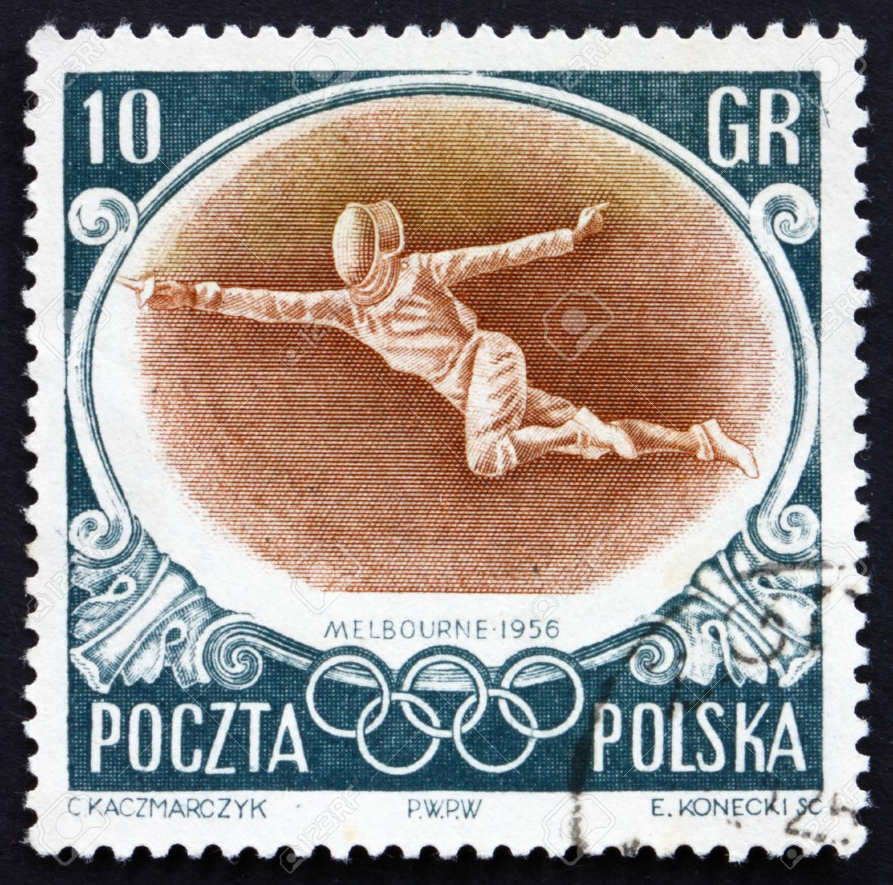 POLAND - CIRCA 1956: a stamp printed in the Poland shows Fencer, Summer Olympic sports, Melbourne 56, circa 1956 Stock Photo - 14224098