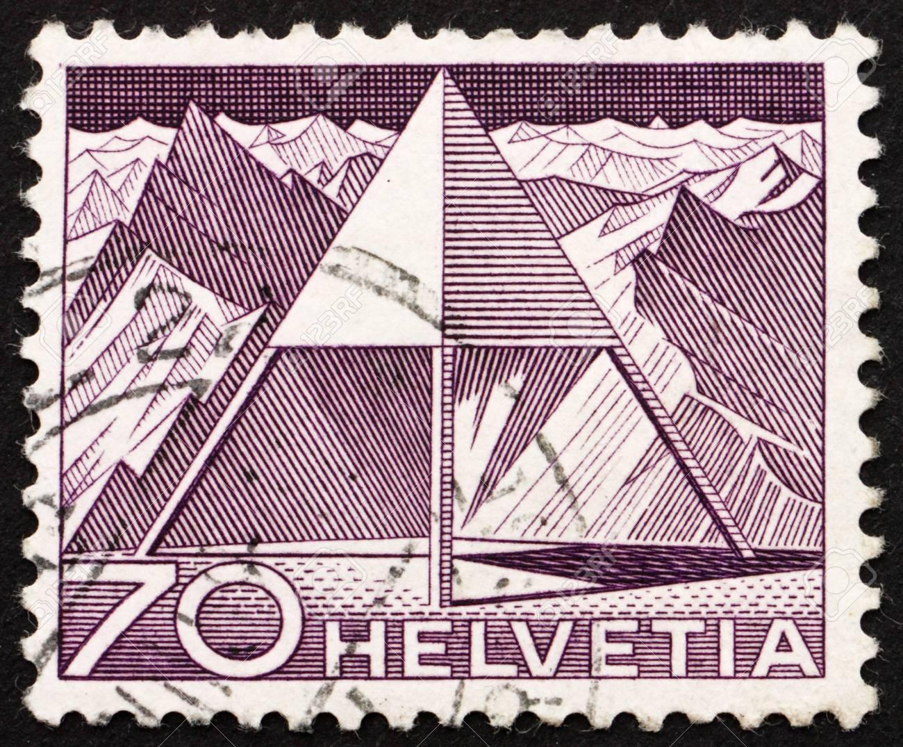 SWITZERLAND - CIRCA 1949: a stamp printed in the Switzerland shows Triangulation Point, circa 1949 Stock Photo - 14335338
