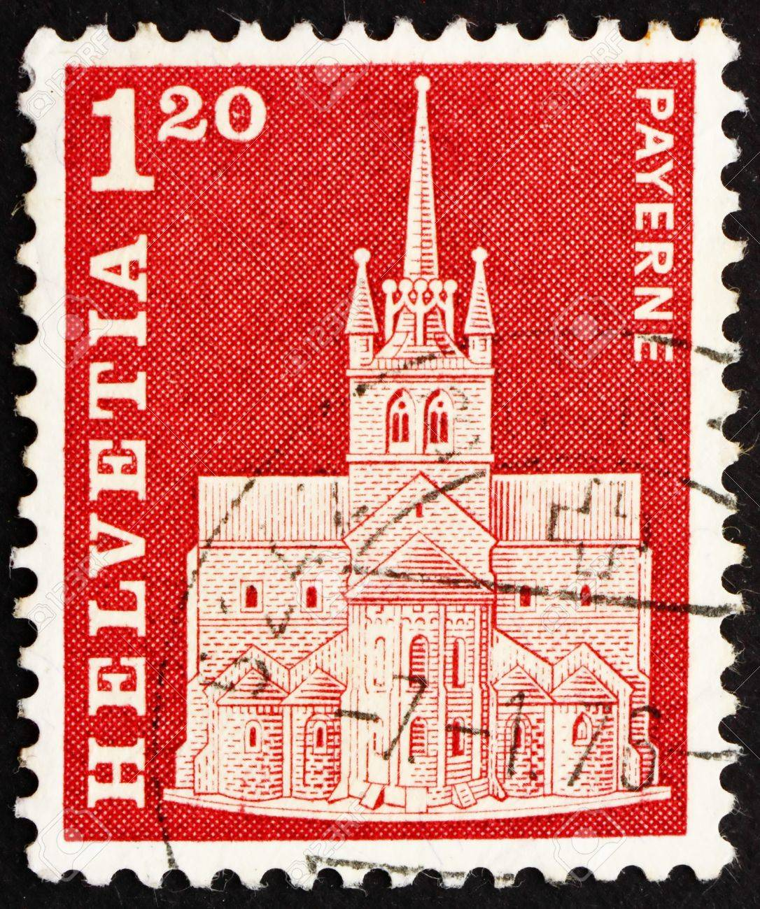 SWITZERLAND - CIRCA 1968: a stamp printed in the Switzerland shows Abbey Church, Payerne, Switzerland, circa 1968 Stock Photo - 14339755