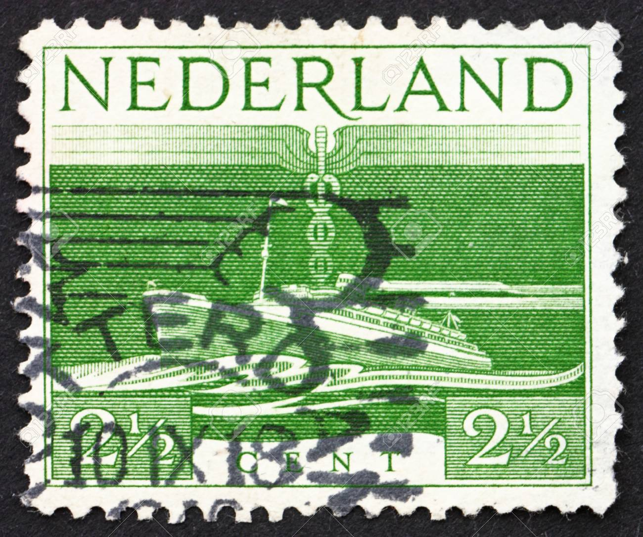 NETHERLANDS - CIRCA 1944: a stamp printed in the Netherlands shows S. S. Nieuw Amsterdam, Transatlantic Liner, circa 1944 Stock Photo - 14514440