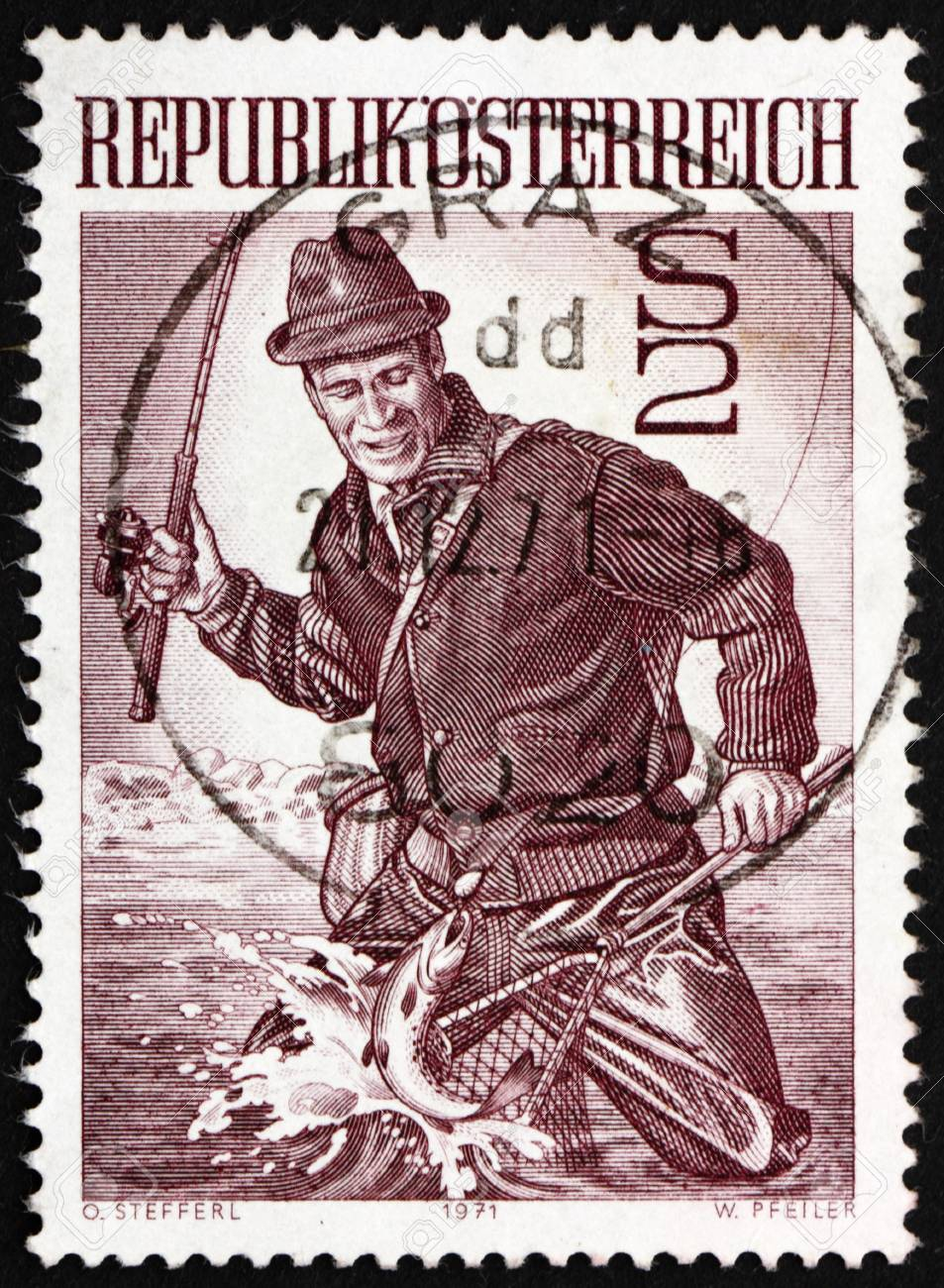 AUSTRIA - CIRCA 1971: a stamp printed in the Austria shows Trout Fisherman, circa 1971 Stock Photo - 14542821