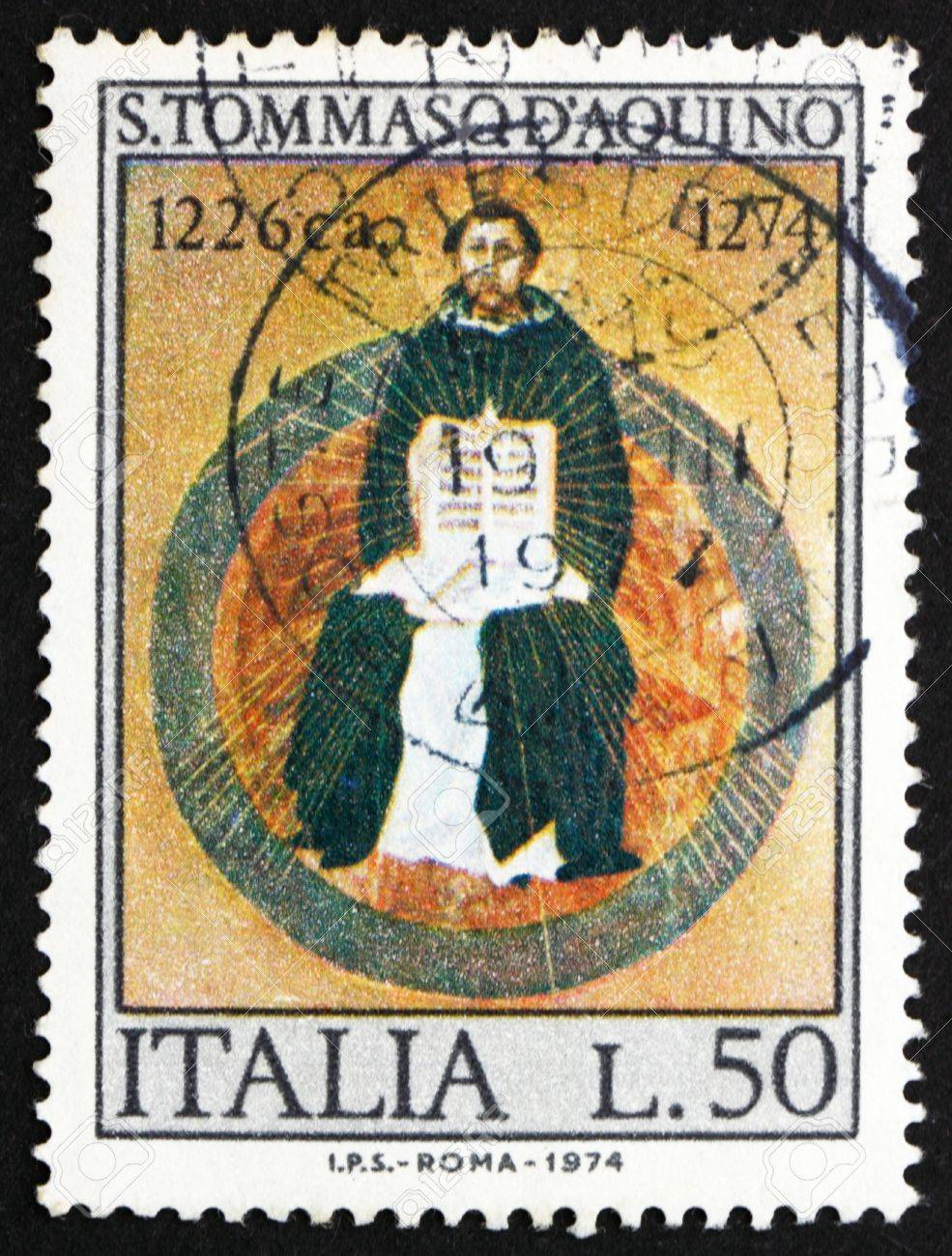 ITALY - CIRCA 1974: a stamp printed in the Italy shows St. Thomas Aquinas, by Francesco Traini, Scholastic Philosopher, 700th Death Anniversary, circa 1974 Stock Photo - 14616616