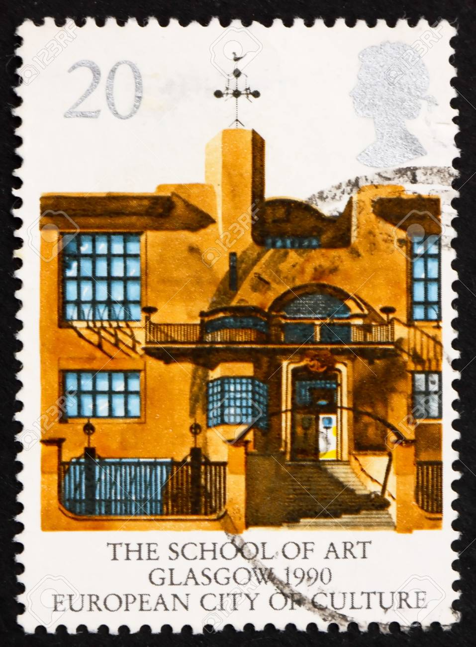 GREAT BRITAIN - CIRCA 1990: a stamp printed in the Great Britain shows School of Art, Glasgow, European City of Culture, circa 1990 Stock Photo - 14681552