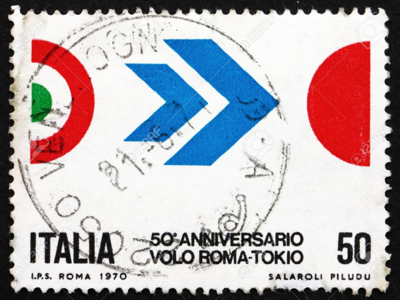 ITALY - CIRCA 1970: a stamp printed in the Italy shows Symbol of Flight, Colors of Italy and Japan, 50th Anniversary of Arturo Ferrarin's Flight from Rome to Tokyo, circa 1970 Stock Photo - 14720435