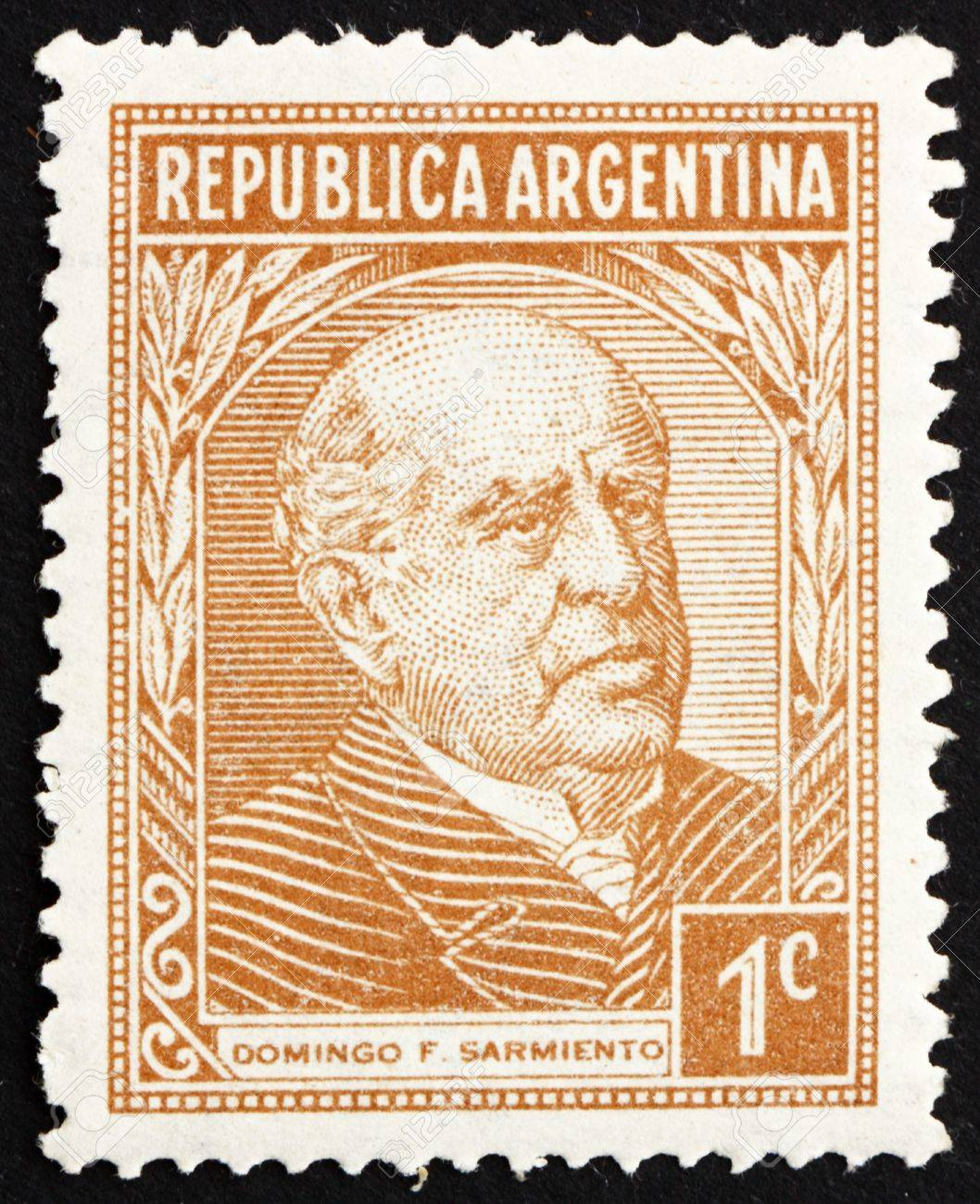 ARGENTINA - CIRCA 1935: a stamp printed in the Argentina shows Domingo Faustino Sarmiento, 7th President of Argentina, 1868 - 1874, circa 1935 Stock Photo - 14755919