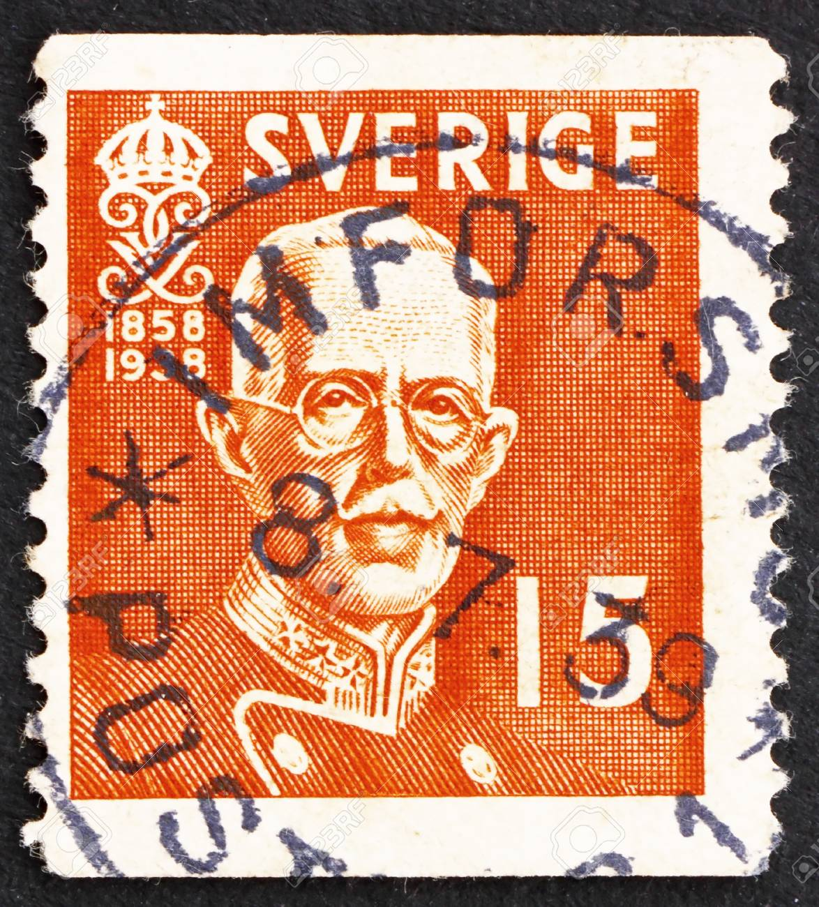 SWEDEN - CIRCA 1938: a stamp printed in the Sweden shows King Gustaf V, circa 1938 Stock Photo - 15740619