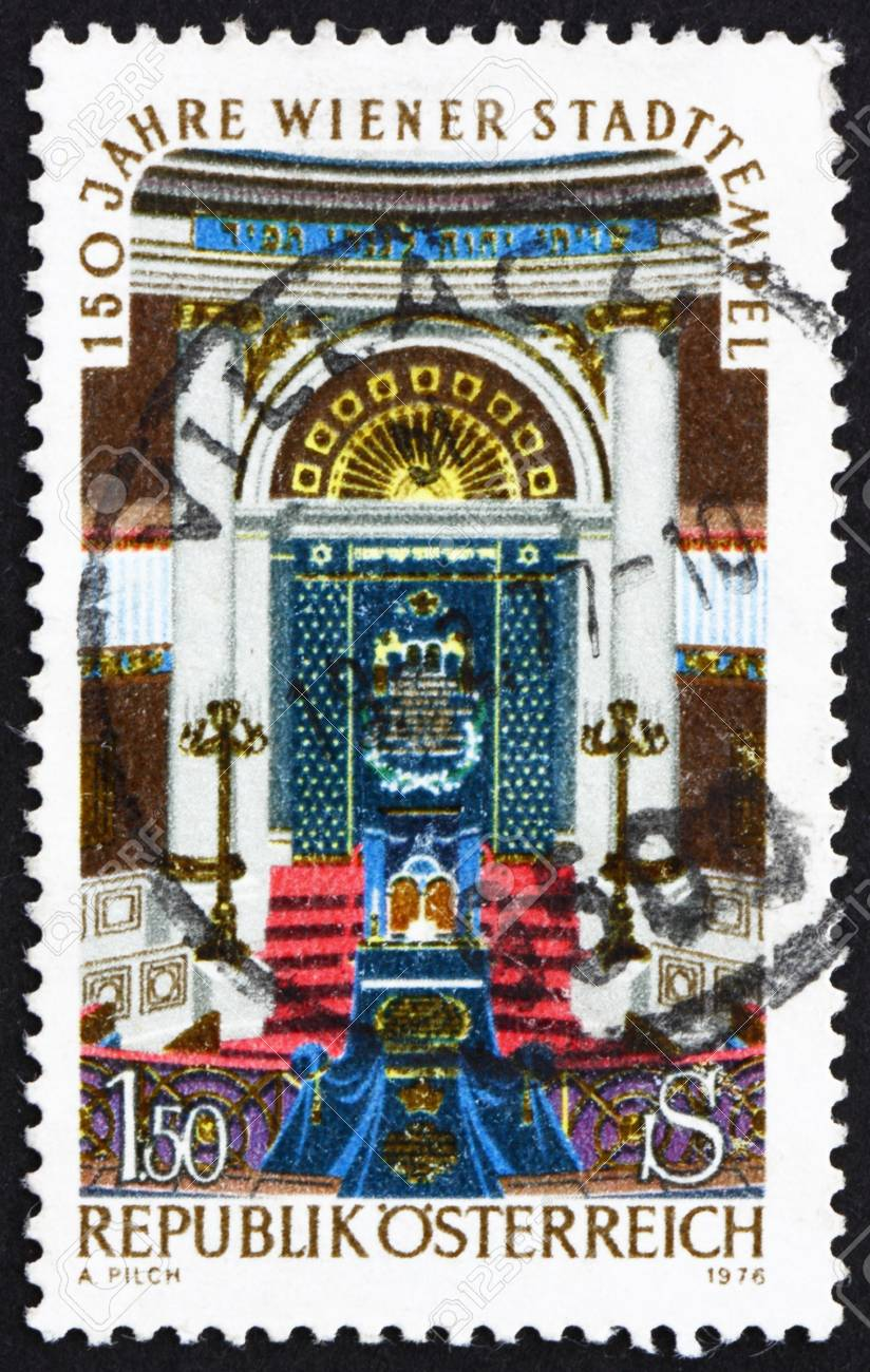 AUSTRIA - CIRCA 1976: a stamp printed in the Austria shows Vienna City Synagogue, Sesquicentennial of Vienna City Synagogue, circa 1976 Stock Photo - 16093823