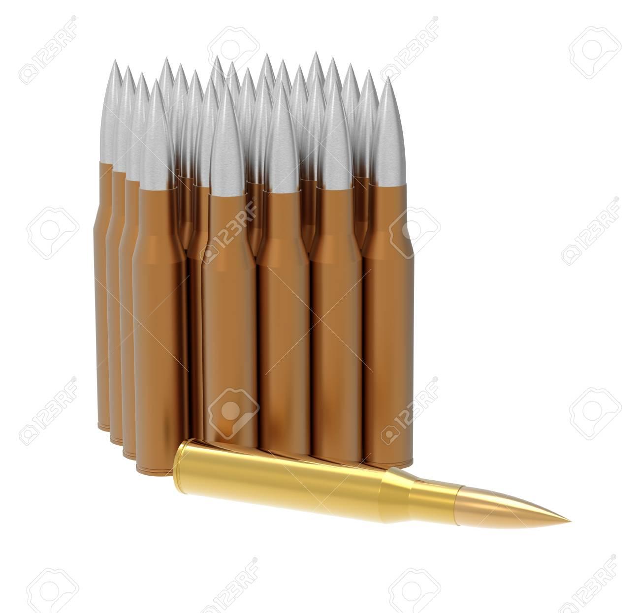 Golden bullet isolated on white background 3d render Stock Photo - 16194443