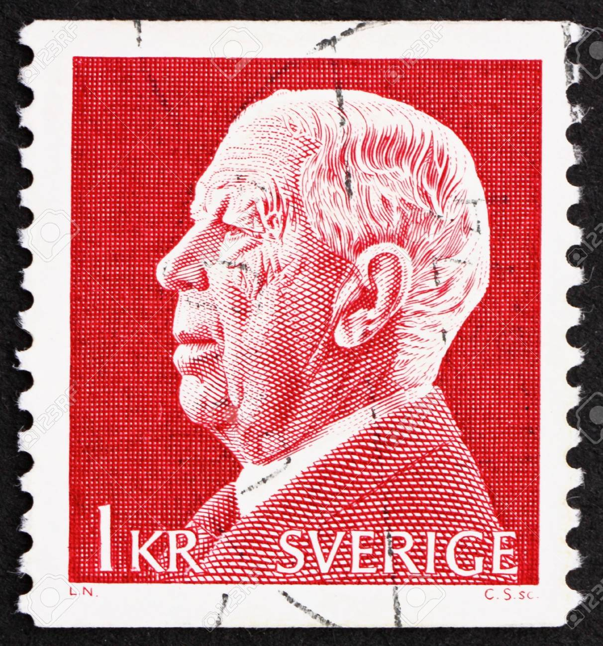 SWEDEN - CIRCA 1972: a stamp printed in the Sweden shows King Gustaf VI Adolf, circa 1972 Stock Photo - 16224773