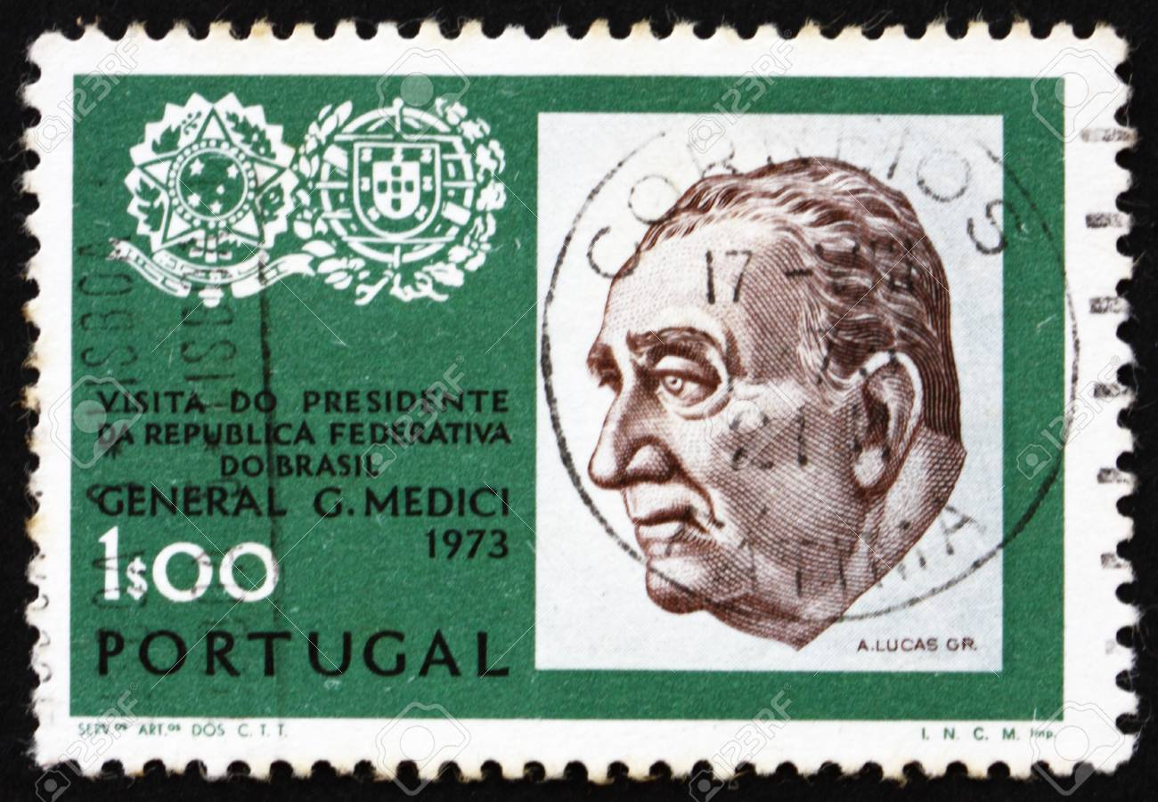 PORTUGAL - CIRCA 1973: a stamp printed in the Portugal shows General Emilio Garrastazu Medici, President of Brazil, Arms of Brazil and Portugal, circa 1973 Stock Photo - 16224768