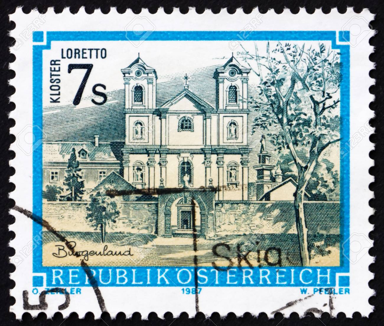 AUSTRIA - CIRCA 1987: a stamp printed in the Austria shows Loretto Monastery, Burgenland, circa 1987 Stock Photo - 16224781