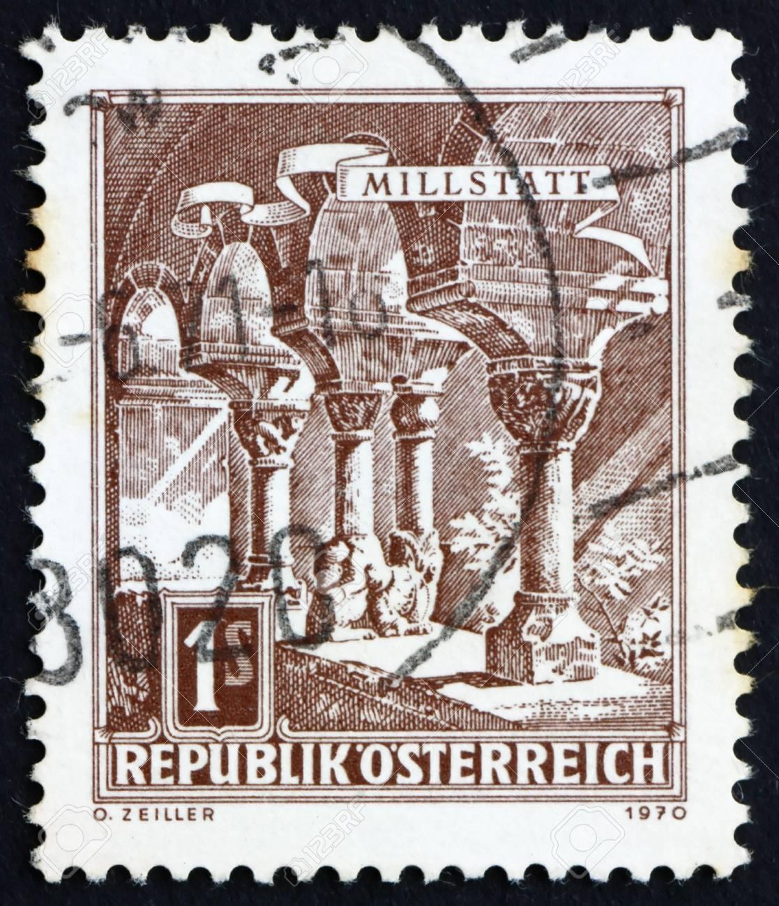 AUSTRIA - CIRCA 1970: a stamp printed in the Austria shows Romanesque Columns, Millstatt Abbey, circa 1970 Stock Photo - 16284395
