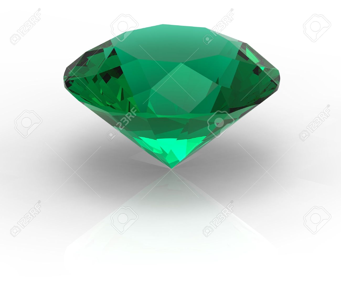 Green diamond emerald gemstone isolated on white with shadows Stock Photo - 16451211