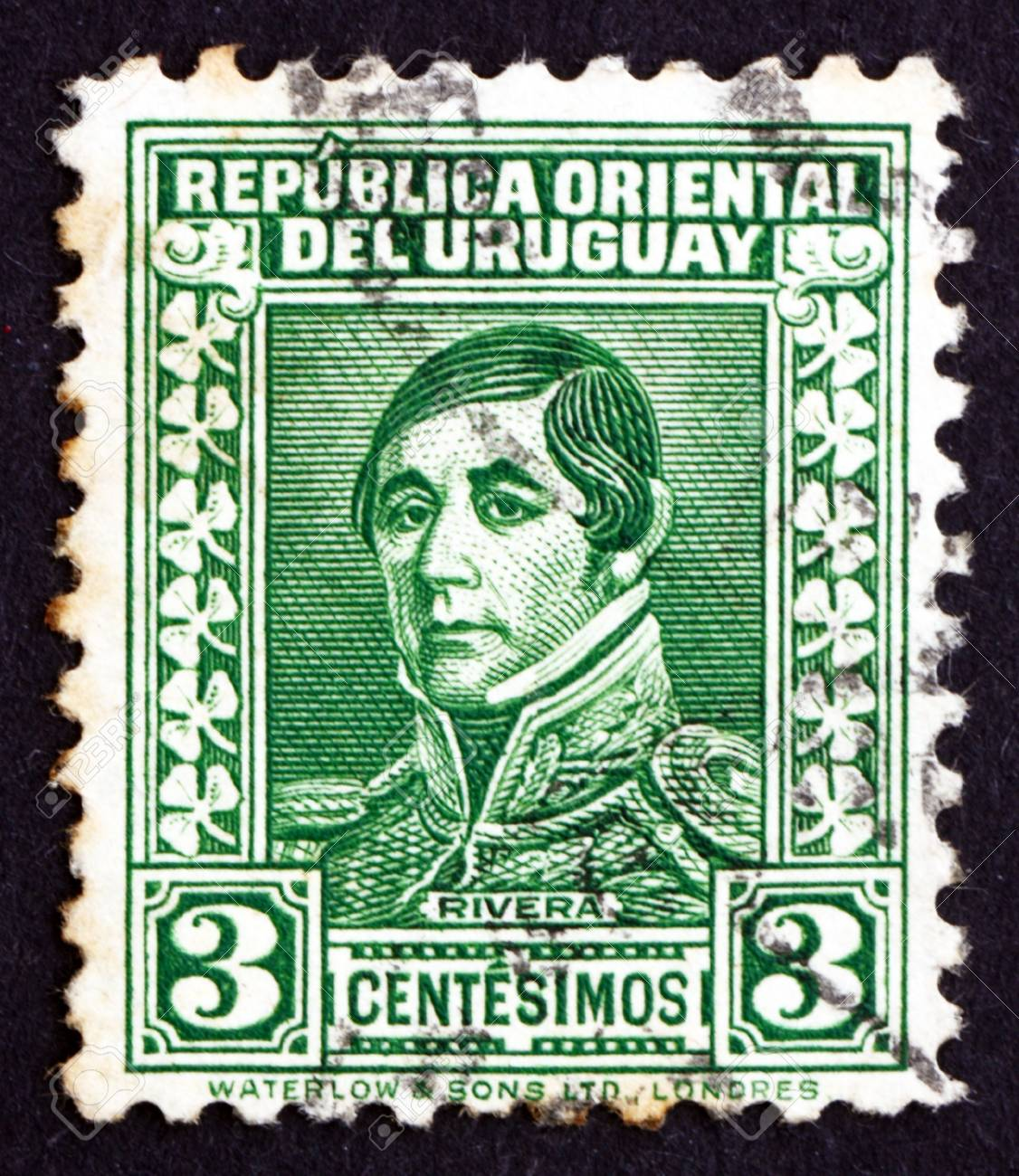 URUGUAY - CIRCA 1934: a stamp printed in the Uruguay shows Jose Fructuoso Rivera y Toscana, General and Patriot, 1st President of Uruguay, 1830 - 1834, circa 1934 Stock Photo - 17003008