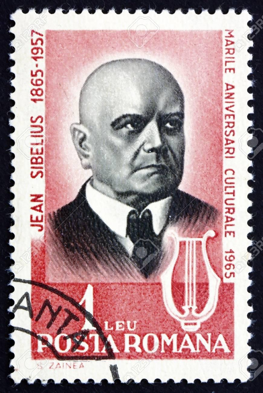 ROMANIA - CIRCA 1965: a stamp printed in the Romania shows Jean Sibelius, Finnish Composer, circa 1965 Stock Photo - 17044864