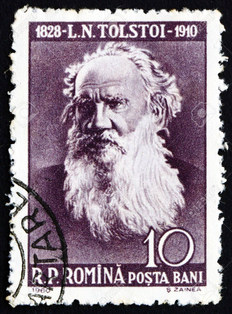 ROMANIA - CIRCA 1960: a stamp printed in the Romania shows Leo Tolstoy, Lev Nikolayevich Tolstoy, Russian Writer, circa 1960 Stock Photo - 17063409