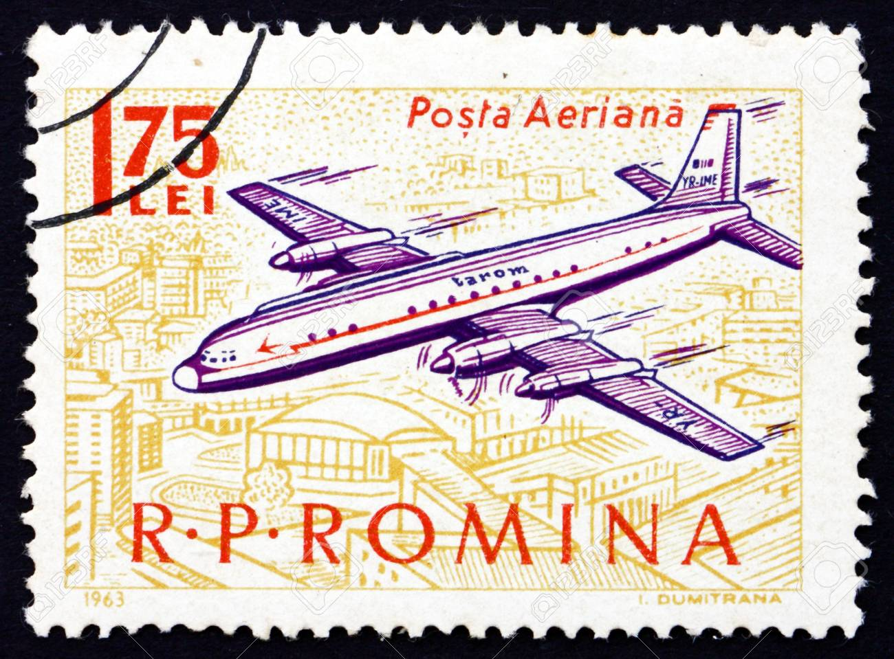 ROMANIA - CIRCA 1963: a stamp printed in the Romania shows Plane over City, circa 1963 Stock Photo - 17063402