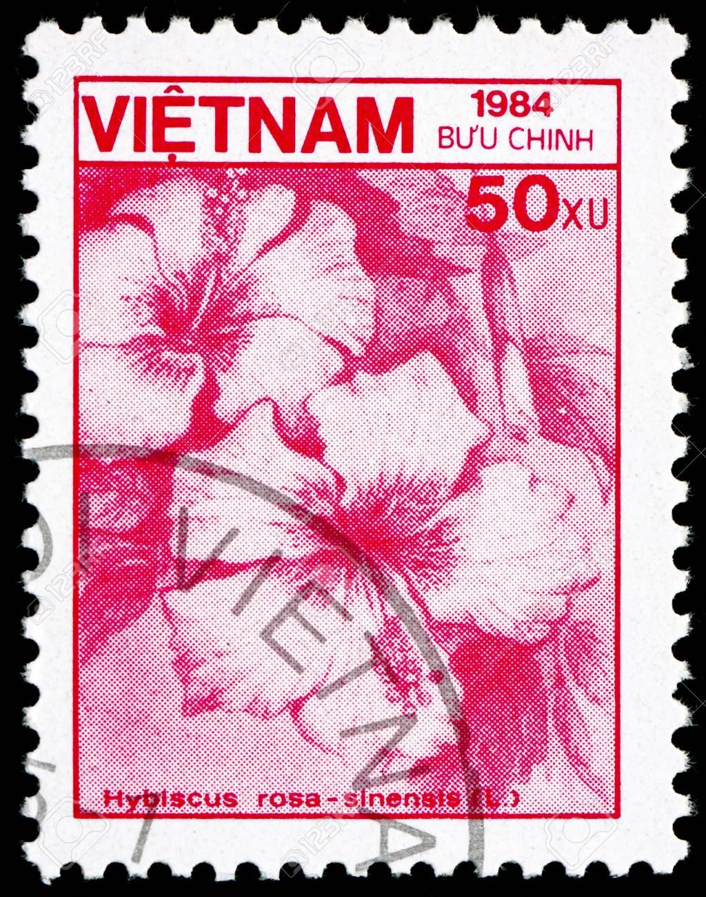 VIETNAM - CIRCA 1984: a stamp printed in Vietnam shows Rose Mallow, Hibiscus Rosa-sinensis, Flower, circa 1984 Stock Photo - 17523429
