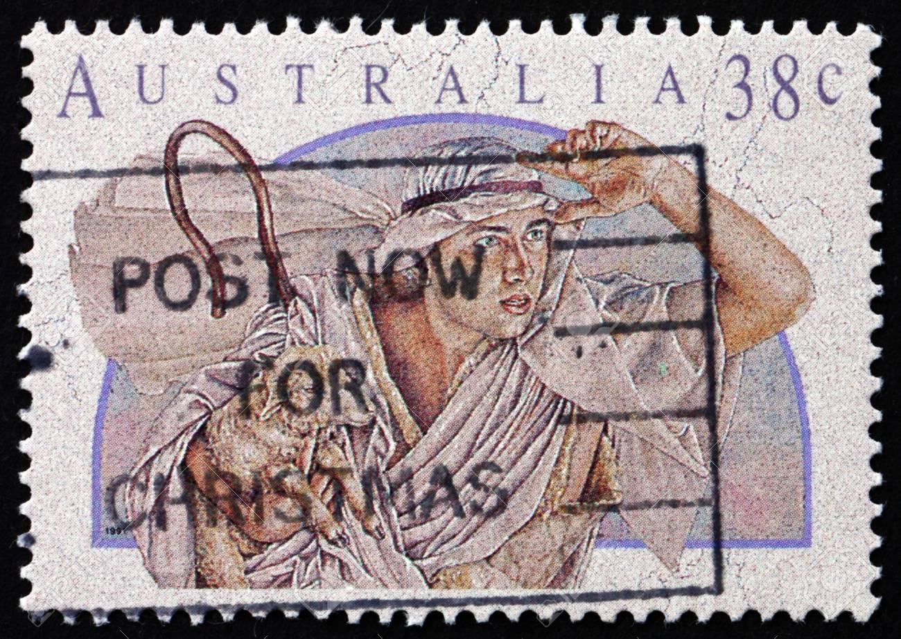 AUSTRALIA - CIRCA 1991: a stamp printed in the Australia shows Shepherd, Christmas, circa 1991 Stock Photo - 18171759
