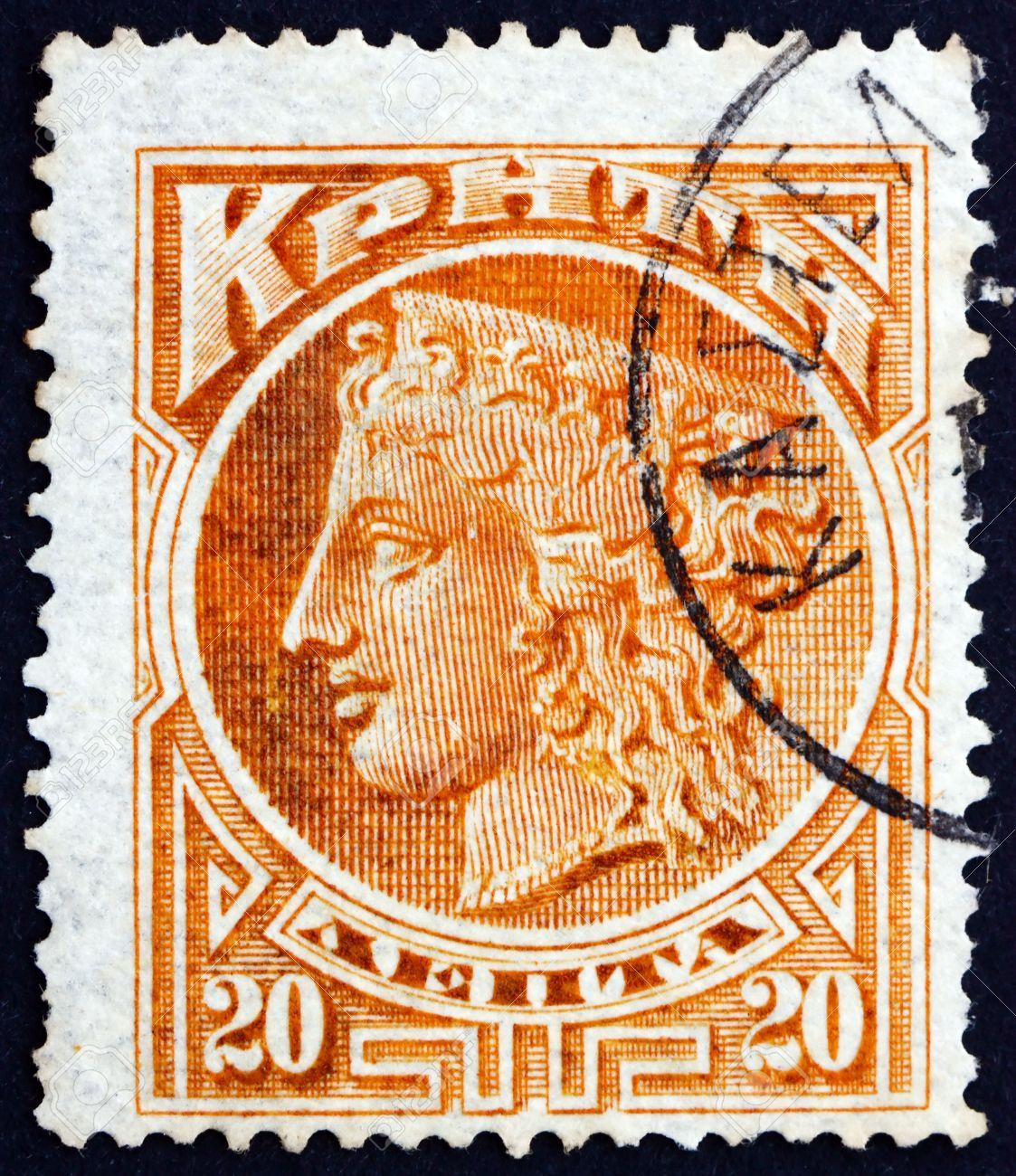 CRETE - CIRCA 1900: a stamp printed in the Greece shows Hera,