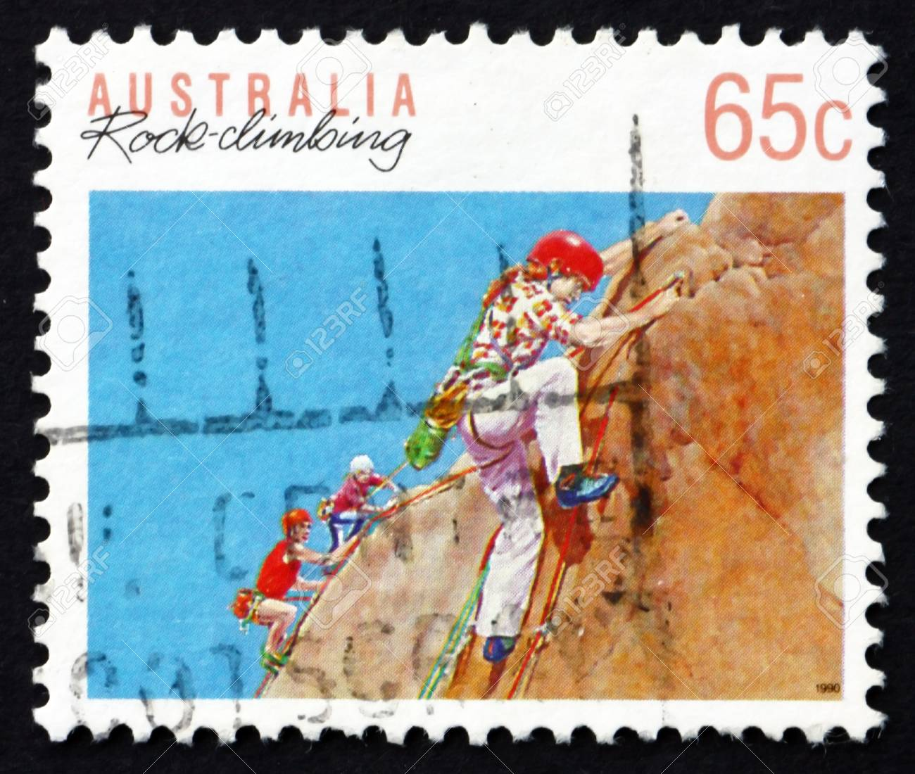 AUSTRALIA - CIRCA 1992: a stamp printed in the Australia shows Rock Climbing, Australian Sport, circa 1992 Stock Photo - 20390263