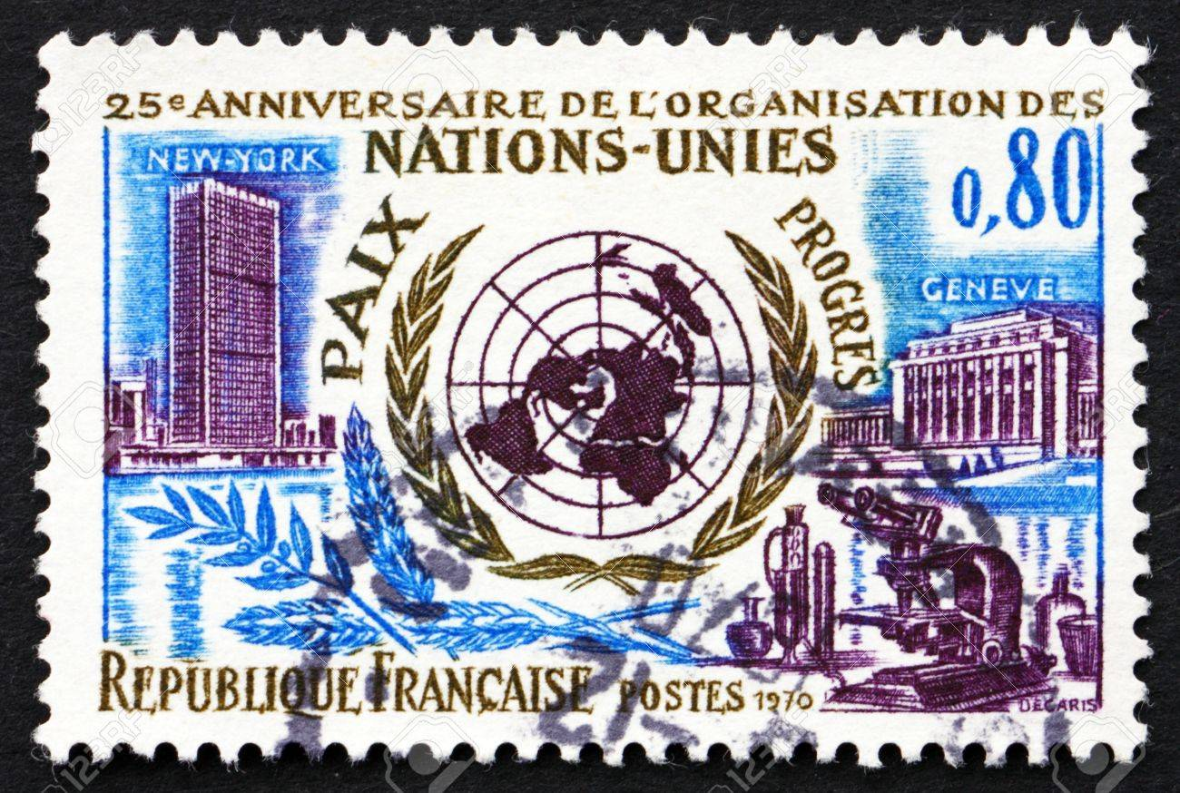 FRANCE - CIRCA 1970: a stamp printed in the France shows UN Headquarters in New York and Geneva, 25th Anniversary of the United Nations, circa 1970 Stock Photo - 20510909