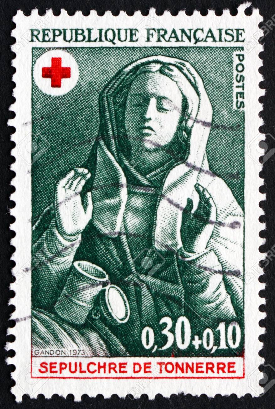 FRANCE - CIRCA 1973: a stamp printed in the France shows Mary Magdalene, Design from 15th Century Tomb of Tonnerre, circa 1973 - 21754145