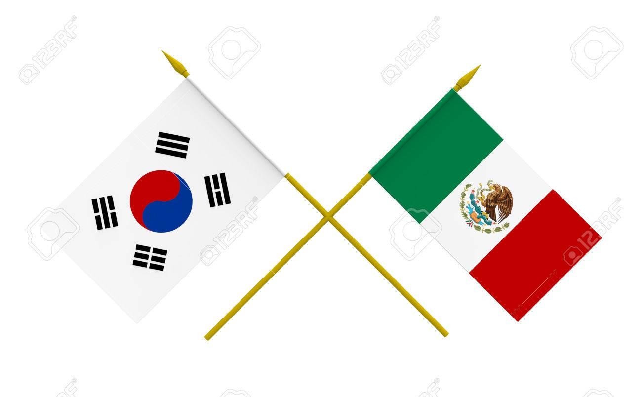 Banderas De Mexico Y La Republica De Corea D Aislado Foto De Archivo