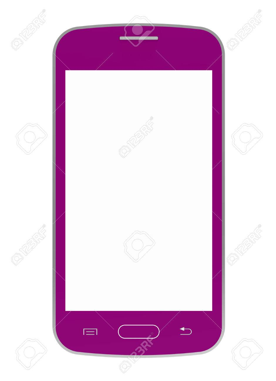 Pink mobile phone with blank screen, smartphone, 3D render, isolated