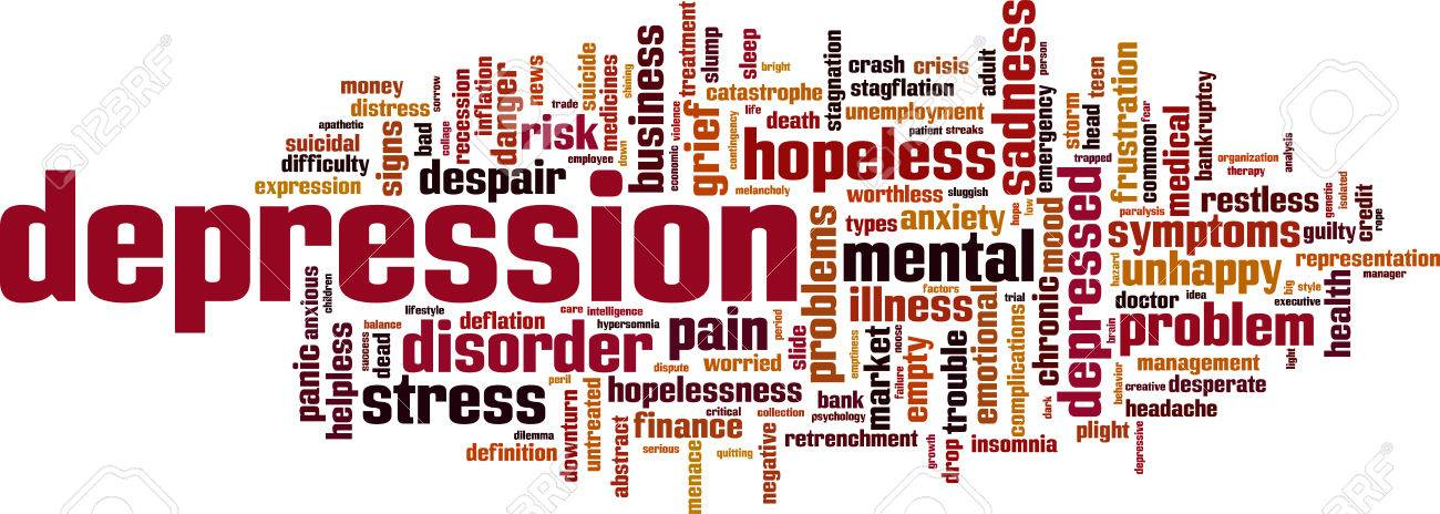 Depression word cloud concept. Vector illustration - 32933911